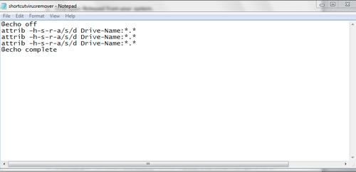 Remove Shortcut Virus in one click using.Bat file